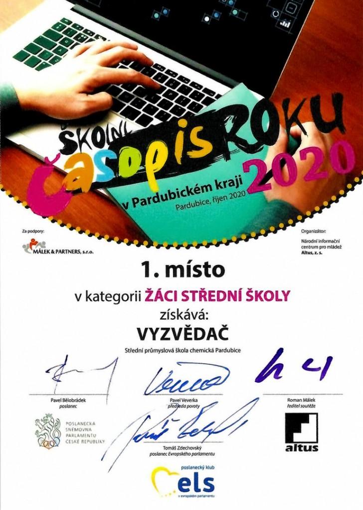 Diplom – Školní časopis roku 2020 vPardubickém kraji